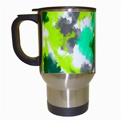 Abstract Watercolor Background Wallpaper Of Watercolor Splashes Green Hues Travel Mugs (White)