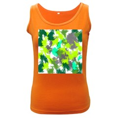 Abstract Watercolor Background Wallpaper Of Watercolor Splashes Green Hues Women s Dark Tank Top