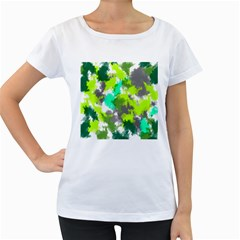 Abstract Watercolor Background Wallpaper Of Watercolor Splashes Green Hues Women s Loose-Fit T-Shirt (White)