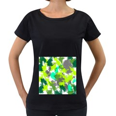 Abstract Watercolor Background Wallpaper Of Watercolor Splashes Green Hues Women s Loose-Fit T-Shirt (Black)