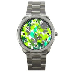 Abstract Watercolor Background Wallpaper Of Watercolor Splashes Green Hues Sport Metal Watch