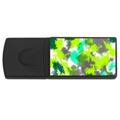 Abstract Watercolor Background Wallpaper Of Watercolor Splashes Green Hues Usb Flash Drive Rectangular (4 Gb)