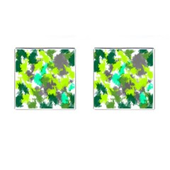 Abstract Watercolor Background Wallpaper Of Watercolor Splashes Green Hues Cufflinks (square)