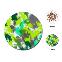 Abstract Watercolor Background Wallpaper Of Watercolor Splashes Green Hues Playing Cards (Round)