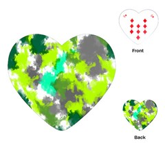 Abstract Watercolor Background Wallpaper Of Watercolor Splashes Green Hues Playing Cards (Heart)