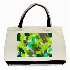 Abstract Watercolor Background Wallpaper Of Watercolor Splashes Green Hues Basic Tote Bag