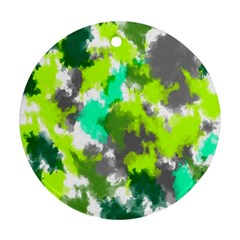Abstract Watercolor Background Wallpaper Of Watercolor Splashes Green Hues Round Ornament (Two Sides)