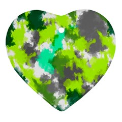 Abstract Watercolor Background Wallpaper Of Watercolor Splashes Green Hues Heart Ornament (Two Sides)