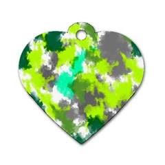 Abstract Watercolor Background Wallpaper Of Watercolor Splashes Green Hues Dog Tag Heart (two Sides)
