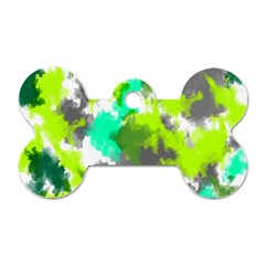 Abstract Watercolor Background Wallpaper Of Watercolor Splashes Green Hues Dog Tag Bone (Two Sides)