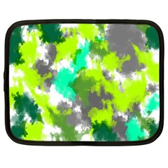 Abstract Watercolor Background Wallpaper Of Watercolor Splashes Green Hues Netbook Case (Large)