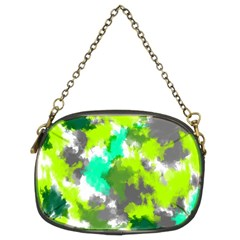 Abstract Watercolor Background Wallpaper Of Watercolor Splashes Green Hues Chain Purses (Two Sides)