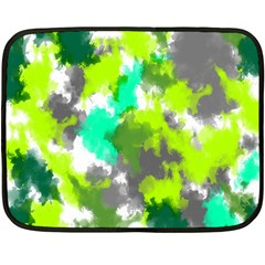 Abstract Watercolor Background Wallpaper Of Watercolor Splashes Green Hues Double Sided Fleece Blanket (mini)