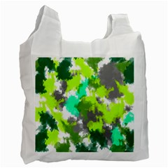 Abstract Watercolor Background Wallpaper Of Watercolor Splashes Green Hues Recycle Bag (two Side)