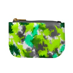 Abstract Watercolor Background Wallpaper Of Watercolor Splashes Green Hues Mini Coin Purses