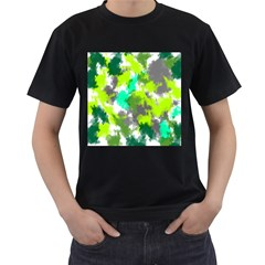 Abstract Watercolor Background Wallpaper Of Watercolor Splashes Green Hues Men s T Shirt (black)