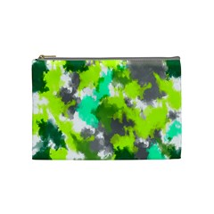 Abstract Watercolor Background Wallpaper Of Watercolor Splashes Green Hues Cosmetic Bag (Medium)