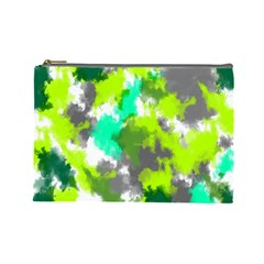Abstract Watercolor Background Wallpaper Of Watercolor Splashes Green Hues Cosmetic Bag (Large)