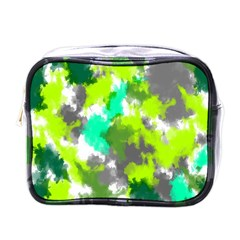 Abstract Watercolor Background Wallpaper Of Watercolor Splashes Green Hues Mini Toiletries Bags