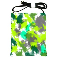 Abstract Watercolor Background Wallpaper Of Watercolor Splashes Green Hues Shoulder Sling Bags