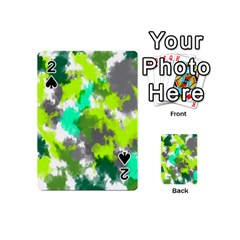 Abstract Watercolor Background Wallpaper Of Watercolor Splashes Green Hues Playing Cards 54 (Mini)