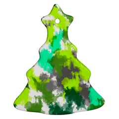Abstract Watercolor Background Wallpaper Of Watercolor Splashes Green Hues Christmas Tree Ornament (Two Sides)