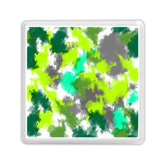 Abstract Watercolor Background Wallpaper Of Watercolor Splashes Green Hues Memory Card Reader (Square)