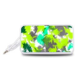 Abstract Watercolor Background Wallpaper Of Watercolor Splashes Green Hues Portable Speaker (White)