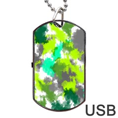 Abstract Watercolor Background Wallpaper Of Watercolor Splashes Green Hues Dog Tag USB Flash (One Side)
