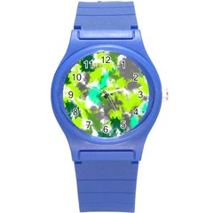 Abstract Watercolor Background Wallpaper Of Watercolor Splashes Green Hues Round Plastic Sport Watch (s)