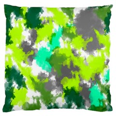 Abstract Watercolor Background Wallpaper Of Watercolor Splashes Green Hues Large Cushion Case (Two Sides)