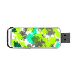 Abstract Watercolor Background Wallpaper Of Watercolor Splashes Green Hues Portable Usb Flash (two Sides)