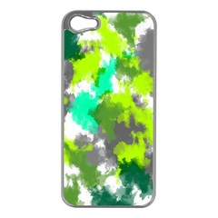 Abstract Watercolor Background Wallpaper Of Watercolor Splashes Green Hues Apple iPhone 5 Case (Silver)