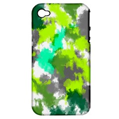 Abstract Watercolor Background Wallpaper Of Watercolor Splashes Green Hues Apple iPhone 4/4S Hardshell Case (PC+Silicone)