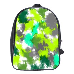 Abstract Watercolor Background Wallpaper Of Watercolor Splashes Green Hues School Bags (XL)