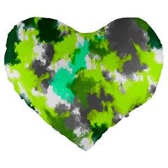 Abstract Watercolor Background Wallpaper Of Watercolor Splashes Green Hues Large 19  Premium Heart Shape Cushions