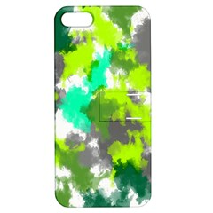 Abstract Watercolor Background Wallpaper Of Watercolor Splashes Green Hues Apple Iphone 5 Hardshell Case With Stand