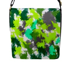 Abstract Watercolor Background Wallpaper Of Watercolor Splashes Green Hues Flap Messenger Bag (l)