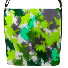 Abstract Watercolor Background Wallpaper Of Watercolor Splashes Green Hues Flap Messenger Bag (s)