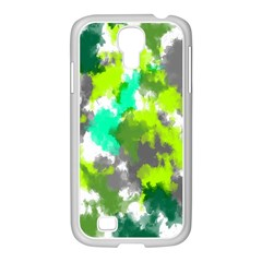 Abstract Watercolor Background Wallpaper Of Watercolor Splashes Green Hues Samsung GALAXY S4 I9500/ I9505 Case (White)