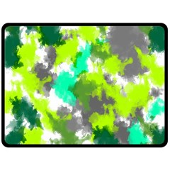 Abstract Watercolor Background Wallpaper Of Watercolor Splashes Green Hues Double Sided Fleece Blanket (large)