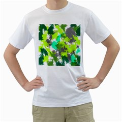 Abstract Watercolor Background Wallpaper Of Watercolor Splashes Green Hues Men s T-Shirt (White)