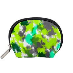 Abstract Watercolor Background Wallpaper Of Watercolor Splashes Green Hues Accessory Pouches (small)