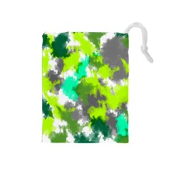 Abstract Watercolor Background Wallpaper Of Watercolor Splashes Green Hues Drawstring Pouches (medium)