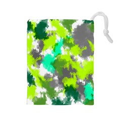 Abstract Watercolor Background Wallpaper Of Watercolor Splashes Green Hues Drawstring Pouches (large)