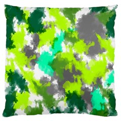 Abstract Watercolor Background Wallpaper Of Watercolor Splashes Green Hues Large Flano Cushion Case (two Sides)