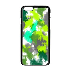 Abstract Watercolor Background Wallpaper Of Watercolor Splashes Green Hues Apple Iphone 6/6s Black Enamel Case