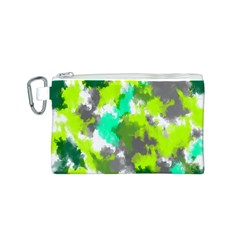 Abstract Watercolor Background Wallpaper Of Watercolor Splashes Green Hues Canvas Cosmetic Bag (S)
