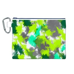 Abstract Watercolor Background Wallpaper Of Watercolor Splashes Green Hues Canvas Cosmetic Bag (L)