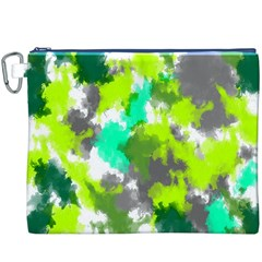 Abstract Watercolor Background Wallpaper Of Watercolor Splashes Green Hues Canvas Cosmetic Bag (xxxl)